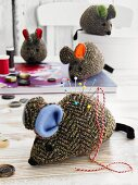 Tweed, mouse-shaped pin cushions