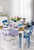 A table laid for Easter breakfast