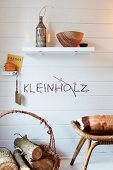 Ornamental lettering made from birch twigs decorating wall