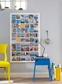 A collection of holiday photos as a large decorative wall collage