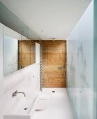 Narrow, contemporary bathroom with sink, toilet and shower (level with the floor) lined up, one after another