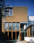 Bauhaus-style house with brick facade
