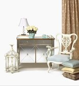 French Provincial Decor; Dresser, Chair, Pillows and Lamps