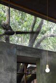 Simple pendant lamp in front of concrete wall with transom and view of tree
