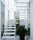 Open-structured, white staircase with slightly transparent treads and plants in stairwell flooded with light