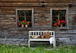 White bench with peeling paint against facade of wooden farmhouse with potted red geraniums on windowsills