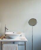 Designer washstand with running water and shaving mirror