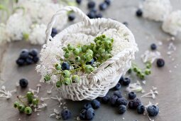 Blueberries and scabious in basket