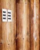 Stainless steel light switch knobs on wooden wall