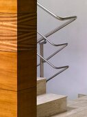 Marble stairs with stainless steel balustrade