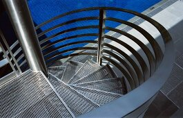 Top view of stainless steel spiral staircase