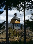 Modern tea house in Japanese landscape
