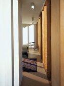 Narrow corridor to bedroom