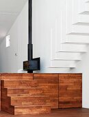 Wooden steps in living space