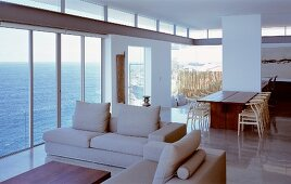 Open-plan living space with sea view