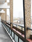 Continuous balcony with view of city