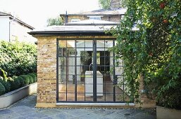 Historic Glass Wall With Metal Frame And Buy Image