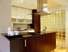 Kitchen counter in open-plan kitchen with glass brick wall