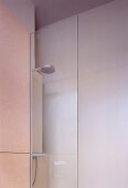 Detail of modern, glass shower cubicle with shower head