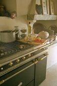 Gas cooker in Provençal kitchen