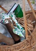Basket of gardening utensils