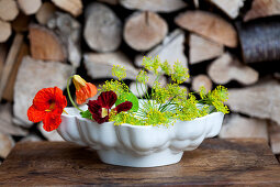 Nasturtium and dill flowers in old jelly mould on table in front of stacked firewood