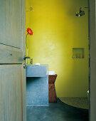 Glänzender Brausenkopf in fröhlichem Badezimmer in Grün- und Blautönen