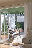 View from living room into courtyard of renovated country house