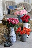 Roses in various vessels