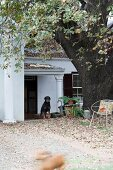 Autumnal garden in front of traditional house with dog under porch roof