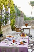 Breakfast on the terrace in a Mediterranean setting