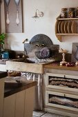 Rustic, stone sink in country-style kitchen