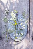 Various wild flowers on tray