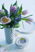Spring bouquet of muscari and tulips