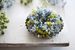 Wreath of hydrangea and lady's mantle florets