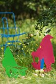 Colourful garden gnomes shaped from sheet metal