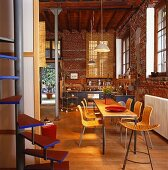 Open-plan living in converted industrial building