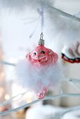 Piggy Christmas tree bauble with white feathers