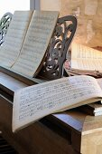 Musical score on music stand