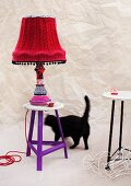 Table lamp decorated with fabrics from old clothes