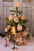 Christmas tree with romantic decorations