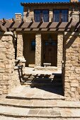 Front entrance to Tuscan style home