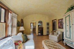 Wide angle image of living room.