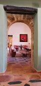Wooden beam above doorway in Spanish home