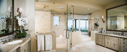 Large master bathroom panoramic