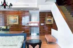 Modern interior with hardwood walls