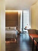 Bedroom with hardwood floor in modern home