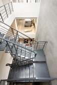 U Shaped staircase viewed from above in modern home