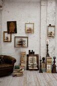 Concertina paper Christmas trees in picture frames on wall in rustic interior