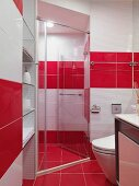 Designer bathroom in red and white with glass shower stall